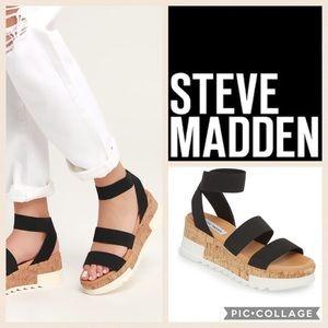 Steve Madden Bandi Platform Wedge Sandal {Blk} 7.5